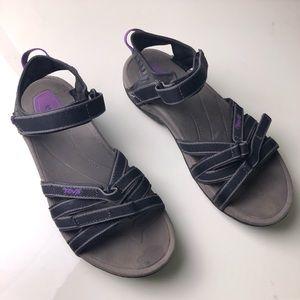 TEVA Tirra Black Purple Sandals 9